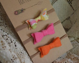 Baby headbands with felt bows in summer colors
