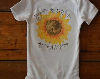 You are my sunshine baby onesie, sunflower baby onesie, hippy baby onesie