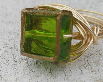 Green Square Wire Wrapped Ring- Size 6.5 (6 1/2)