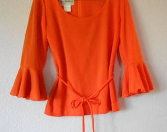 Miss Shaheen vintage women's orange blouse 3/4 sleeve size 10