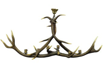 vintage antler chandelier with six spouts ca. 1960s