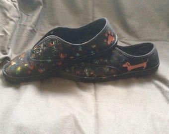 Splatter Paint Dachshund Sneakers