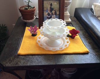 Trio of Milk Glass With Open Lace By Anchor Hocking - Wedding Decor - Old Colony