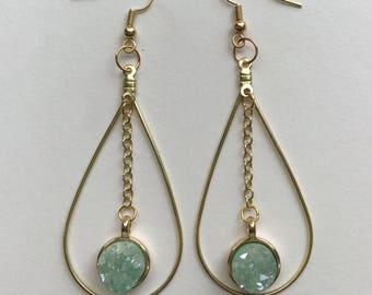 The Erin/Mint Druzy Teardrop Gold Dangle Earrings