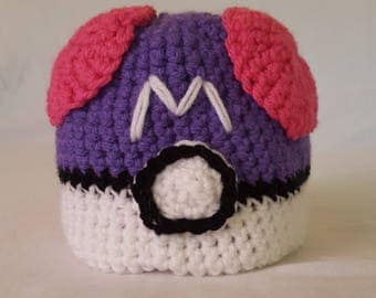 Crochet Pokemon Masterball Baby Hat - 8 sizes
