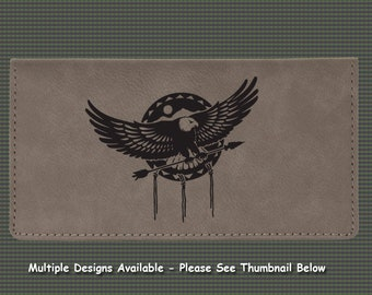 Engraved Leatherette Checkbook Cover - Eagle Designs