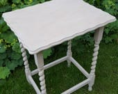 Stunning antique vintage butterscotch rectangular painted side table  hall table  console table with barley twist legs