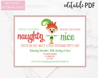 Editable Christmas Party Invitation Template | Naughty or Nice Elf Party Invitation | Holiday Party Invitation | Instant Download