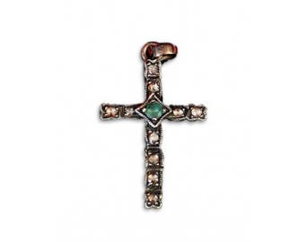 Sterling Silver Emerald and Crystal Cross
