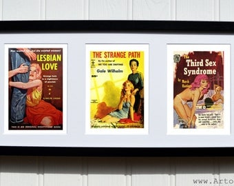 Lesbian Pulp Fiction Book Covers - Framed