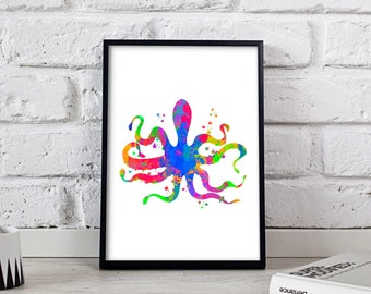 Octopus poster, Watercolor Octopus print, Octopus wall art, Octopus decor, Gift poster, Nautical art print, Nautical decor, Nautical poster