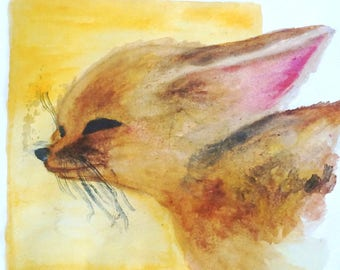 Fennec Fox Art print, Fennec Fox Watercolor Art Print, Small Art Print, Gift, Cute Animal Art Print, Nursery Decor, Adorable Animal Art