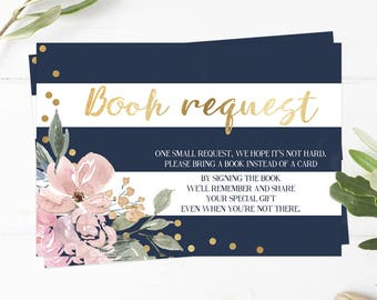 Gold Baby Shower Book Request Card, Book Request Insert, Navy Blue and Gold, Printable Baby Shower Games for a Girl, Floral Baby Shower, GF1