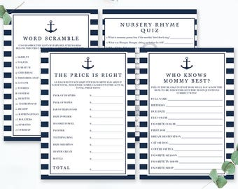 Baby Shower Games Package Set of Games for Baby Shower Printable Game Cards Nautical Shower Nautical Baby Sprinkle Game Pack Shower Card NS1