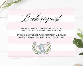 Elephant Book Request Card Baby Girl Editable Book Request Card Pink Grey Elephant Invitation Insert Editable Book Card Instant Download LPE