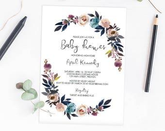 Purple Flowers Baby Shower Invitation Girl Digital Download Baby Shower Invite Floral Baby Party Invitation Template Instant Downloads LF1