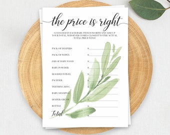 The Price is Right Baby Shower Game The Price is Right Game Printable Baby Shower Game Baby Shower Activities Green Baby Shower Game GL1