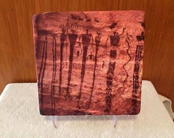Pictograph, Rock Art, Petroglyph, Buckhorn UT, Petroglyph on tumbled Sandstone  Tile With Six Inch Stand