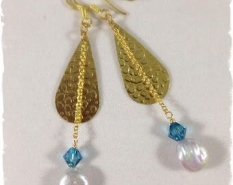 Swarovski,  Freshwater Pearl & Brass Earrings