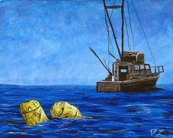 "Jaws (Barrels) 8""x10"" print on fine art paper of original acrylic painting"