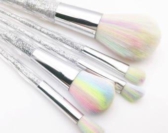 Sparkle Horn ~ Set of 5 Silver Sparkle Unicorn Makeup Brushes