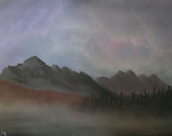 Oil Painting of Stormy Skies Behind Mountains