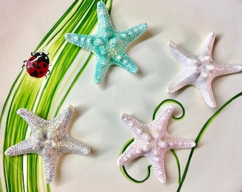 4 Small Glitter Glazed Starfish Knobby For Craft Or Floral Decor