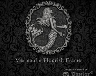 Pewter Pirate ~ Mermaid n Flourish Frame ~ Pin, Pendant