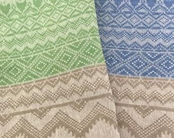 Linen Heritage Damask 100% Linen Table Runner Sky Blue / Emerald Green