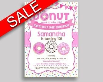 Doughnut Birthday Invitation Doughnut Birthday Party Invitation Doughnut Birthday Party Doughnut Invitation Girl any age, donut 31C0W