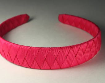 Sale. Woven headband hot pink 1 inch