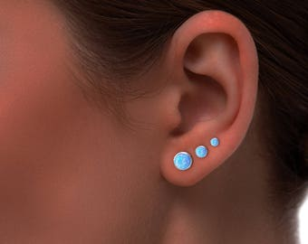 Silver Opal Earrings, Opal Stud Earrings, Blue Opal Stud Earrings, Blue Opal Earrings ,Stud Earrings ,Opal Stud Earrings