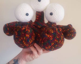 Crochet monster stuffed animal~ 3 eyed monster toy