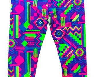 Girl's Capri - Neon Aztec Print