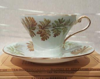 Vintage Aynsley Teacup and Saucer Corset Shape Pale Blue Fern Gold Detail Porcelain