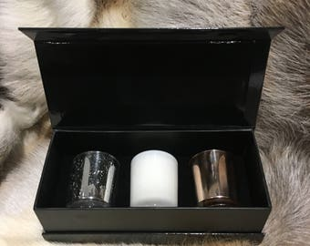 Rose gold, Silver & White candle set earth scents