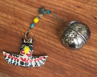 Native Thunderbird Tea Infuser with dish, Handmade Porcelain-Clay Tea Infuser