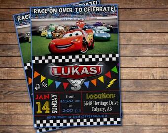 Disney Cars Invitation - Cars Birthday Invitation - Disney Cars Birthday Party Printable Invites - Pixar Racing Lightening McQueen