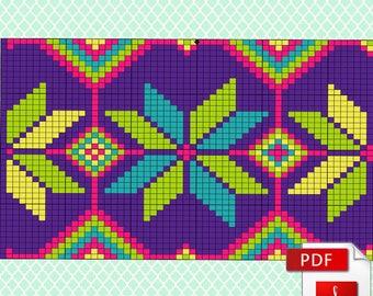 Wayuu Mochila Pattern - Knitting scheme for a modern bag - 3 variants of color combinations - Crochet chart