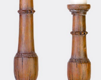 Brown rustic candlestick holders