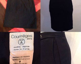 1960s Courreges black wool mini skirt sz xs/sm shipping incl withing Canada/USA