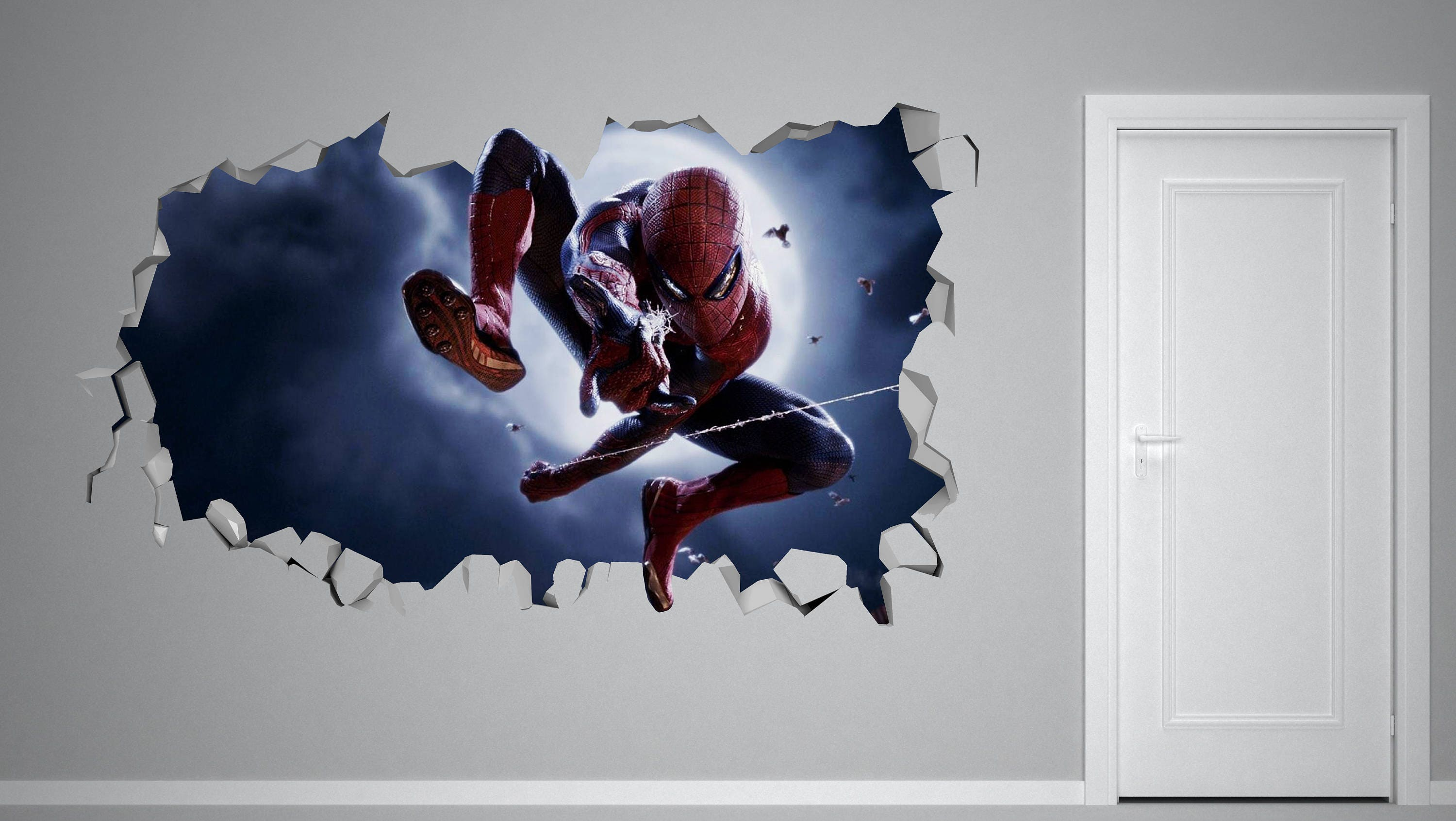Spiderman Homecoming Character Smashed 3D Wall Decal Kids Sticker ... for 3d Wall Graphic Design  113cpg