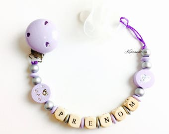 Pacifier pacifier personalized purple silver