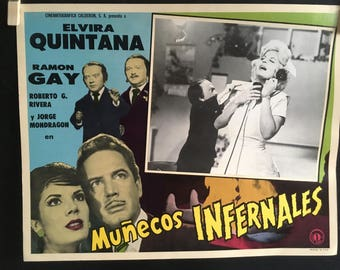set of 7 Lobby Cards Munecos Infernales (1961) Director Alfredo B. Crevenna
