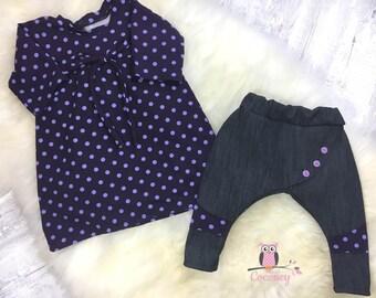 Shirt sweater and harem pants set