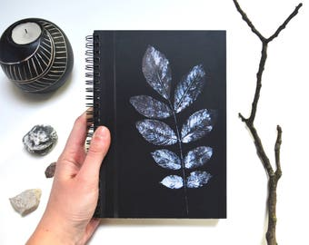 Black art print notebook botanical paper sketchbook writing A 5 journal blank bullet stationery spiral floral planner teacher gift Christmas
