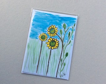 Happy Days -Hand Painted Original - Art on a Card -Greeting card