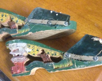 vintage Japanese hand painted wood sandals