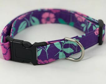 Floral Purple Dog Collar