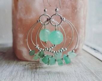Aventurine Earrings, Green hoop Earrings, Stone Earrings, Boho, Drop Earrings